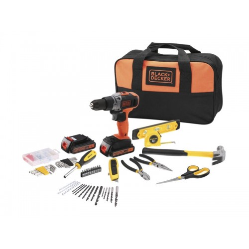 18V Hammer drill with 2 batteries + 150 accessories